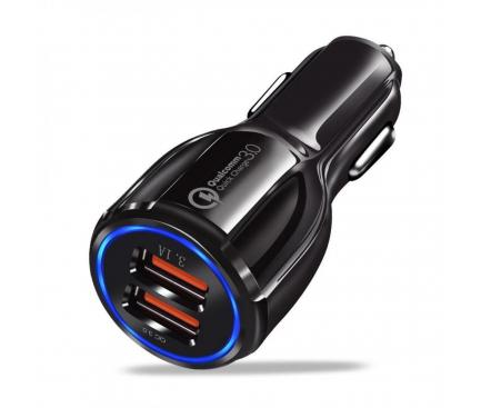 Incarcator Auto USB OEM QC3.0, 3.1A, 2 X USB, Negru, Bulk