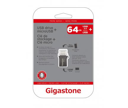 Memorie Externa Gigastone, MicroUSB OTG - USB 3.0, 64Gb, Argintie, Blister