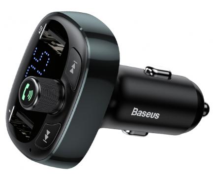 Emitator FM Bluetooth si MP3 Player AUTO cu buton Apel si 2 x USB Baseus  Negru, Blister CCALL-TM01