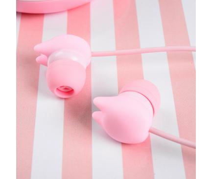 Handsfree Casti In-Ear Tellur Macaron, Cu microfon, 3.5 mm, Roz, Blister TLL162122