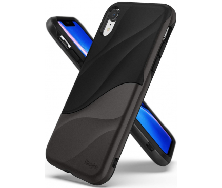 Husa Plastic - TPU Ringke Wave pentru Apple iPhone XR, Gri - Neagra, Blister WVAP0024