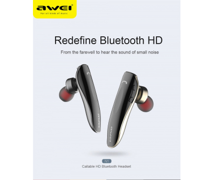 Handsfree Casca Bluetooth Awei N1, MultiPoint, Gri, Blister