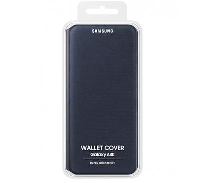 Husa Samsung Galaxy A30 A305, Wallet Cover, Neagra, Blister EF-WA305PBEGWW