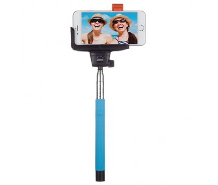 Selfie Stick KitVision cu declansator camera Bluetooth,  Albastru, Blister BTSSPHBL