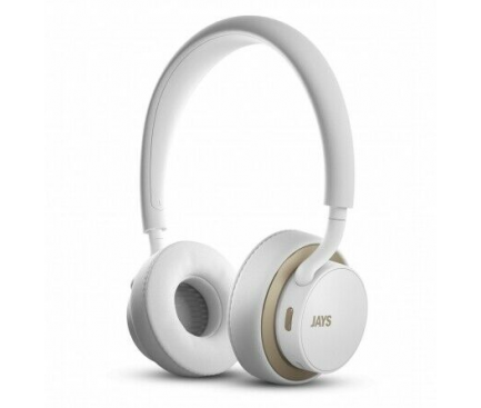 Handsfree Casti Bluetooth JAYS On-Ear, Alb Auriu, Blister JAYST00184