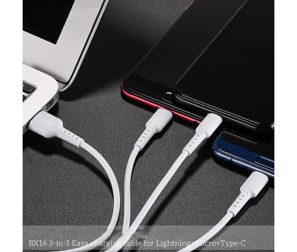 Cablu Incarcare USB la Lightning - USB la MicroUSB - USB la USB Type-C Borofone BX16, 1 m, Alb, Blister
