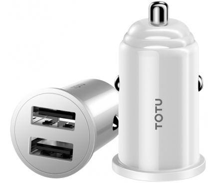 Incarcator Auto USB Totu Design Jane DCCD-014 Mini, 2 X USB, Alb, Blister