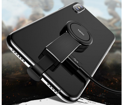 Adaptor Audio Lightning la 3.5 mm Totu Design cu port incarcare Lightning, Ring Holder, Battle, Negru, Blister