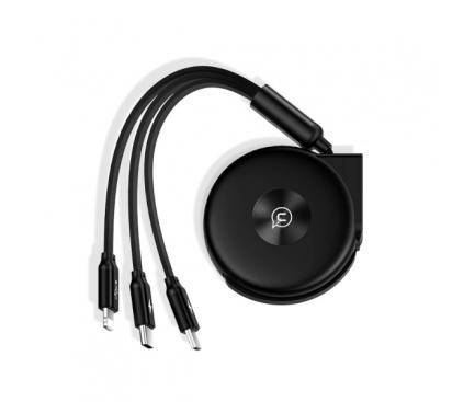 Cablu Date si Incarcare USB la Lightning - USB la MicroUSB - USB la USB Type-C Usams, Retractabil 3in1, U20, SJ280USB01 (US-SJ280), 1 m, Negru, Blister