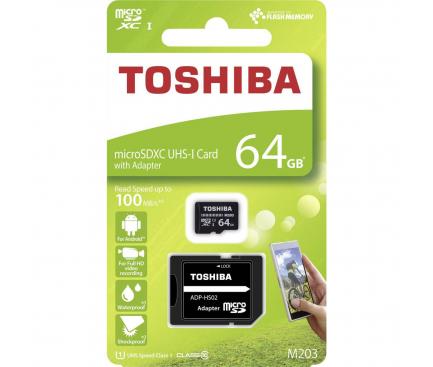 Card Memorie MicroSD Toshiba M203, cu adaptor R100/W10 MB/s, 64Gb, UHS-1 U1, Blister THN-M203K0640EA