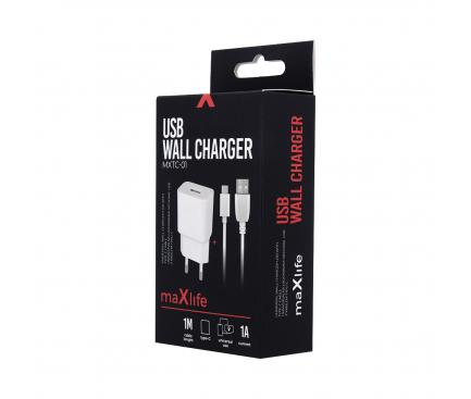 Incarcator Retea cu cablu USB Tip-C MaXlife MXTC-01, 1A, 1 X USB, Alb, Blister
