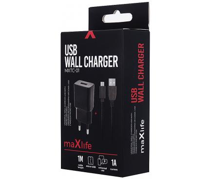Incarcator Retea cu cablu MicroUSB MaXlife MXTC-01, 1A, 1 X USB, Negru, Blister