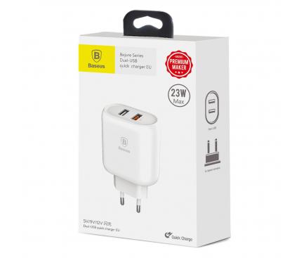 Incarcator Retea USB Baseus Bojure, CCALL-AG02, Quick Charge 3.0 QC 3.0 23W, 2 X USB, Alb, Blister