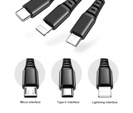Cablu Date si Incarcare USB la Lightning - USB la MicroUSB - USB la USB Type-C McDodo CA-6220, Armor Series, 3 in 1, 1.2 m, Negru, Blister