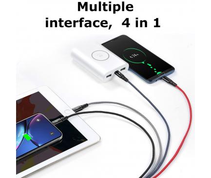 Cablu Date si Incarcare USB la Lightning x 2 - USB la MicroUSB - USB la USB Type-C McDodo CA-6230, Armor Series, 4 in 1, 1.2 m, Negru, Blister
