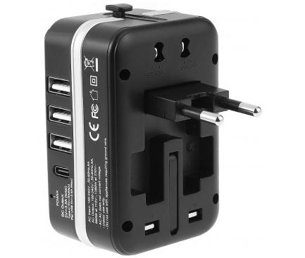 Incarcator Retea USB OEM EU / UK / US / AU, 1 X USB Tip-C - 3 x USB, Negru, Blister