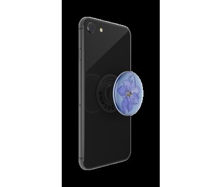 Suport Stand Adeziv Popsockets PopGrip Premium pentru telefon, Pressed Flower Larkspur Purple, Blister Original