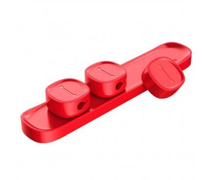 Suport birou pentru organizare cabluri Baseus Peas magnetic, Rosu, Blister Original ACWDJ-09