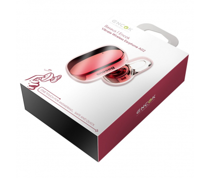 Handsfree Casca Bluetooth Baseus Encok A02, MultiPoint, Rosu, Blister NGA02-09