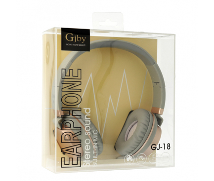Handsfree Casti On-Ear Gjby EXTRA BASS, GJ-18, Cu microfon, 3.5 mm, Gri, Blister