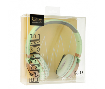 Handsfree Casti On-Ear Gjby EXTRA BASS, GJ-18, Cu microfon, 3.5 mm, Verde, Blister