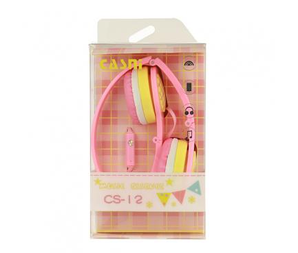 Handsfree Casti On-Ear CASNI CS12, Cu microfon, 3.5 mm, Roz, Blister