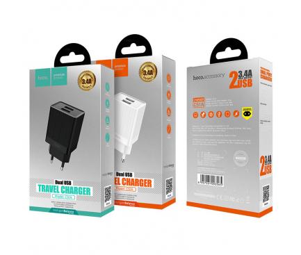 Incarcator Retea USB HOCO C51A, 2 X USB, Alb, Blister