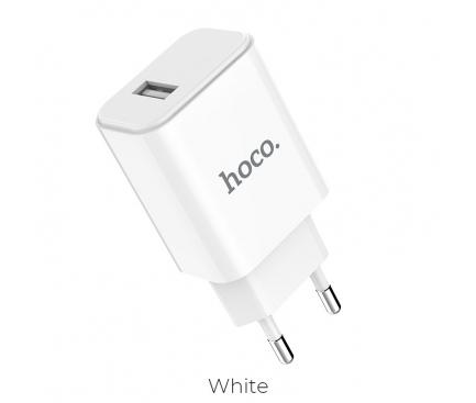 Incarcator Retea USB HOCO C61A, 1 X USB, Alb, Blister