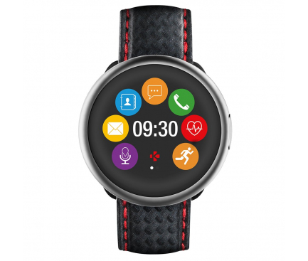 Ceas Bluetooth Smartwatch MyKronoz ZeRound2HR Premium, Black Carbon Band, argintiu - negru, Blister KRZEROUND2HR