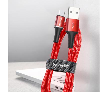 Cablu Date si Incarcare USB la MicroUSB Baseus Halo, 2A, 2 m, Cu LED, Rosu, Blister CAMGH-C09