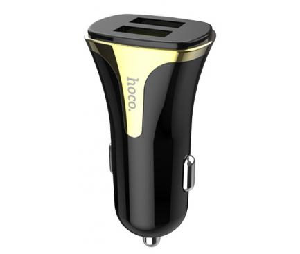 Incarcator Auto USB HOCO Z31, Quick Charge, 2 X USB, Negru, Blister