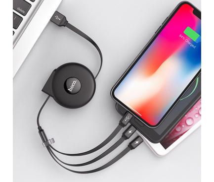 Cablu USB la Lightning - USB la MicroUSB - USB la USB Type-C HOCO U50, Retractabil, 1 m, Negru, Blister