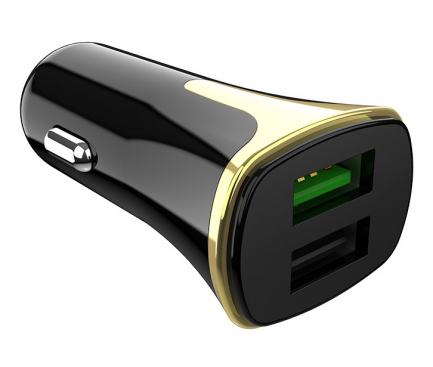 Incarcator Auto cu cablu MicroUSB HOCO Z31, Quick Charge, 2 X USB, Negru, Blister