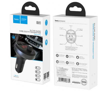 Emitator FM Bluetooth si MP3 Player AUTO cu buton Apel si 2 x USB HOCO E41 Negru Blister