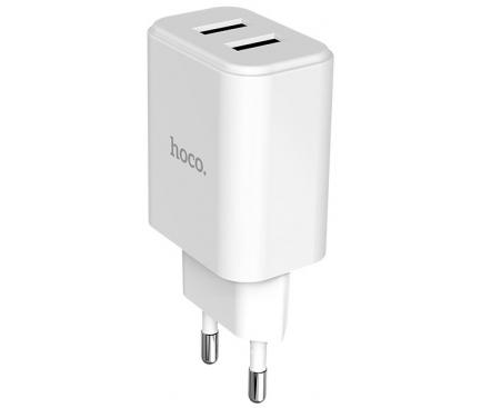 Incarcator Retea cu cablu Lightning HOCO C62A Victoria, 2 X USB, Alb, Blister