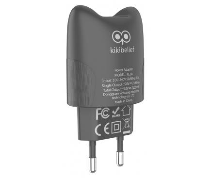 Incarcator Retea USB HOCO KC1A Kikibelief, 2.1A, 2 X USB, Gri, Blister