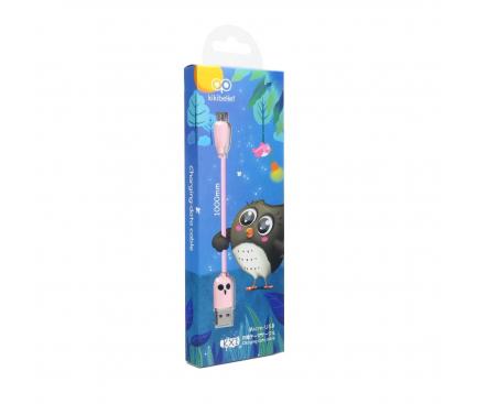 Cablu Date si Incarcare USB la MicroUSB HOCO KX1 Kikibelief Owl, 2.4A, 1 m, Roz, Blister