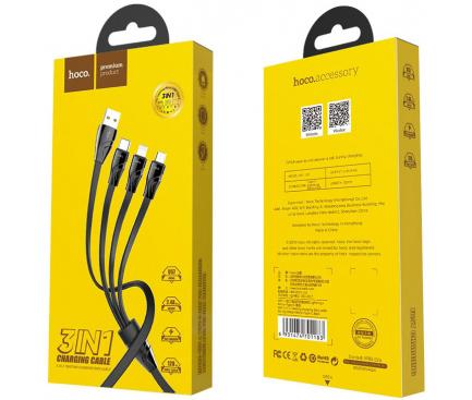 Cablu USB la Lightning - USB la MicroUSB - USB la USB Type-C HOCO U57 Twisting, 2.4A, 1.2 m, Negru, Blister
