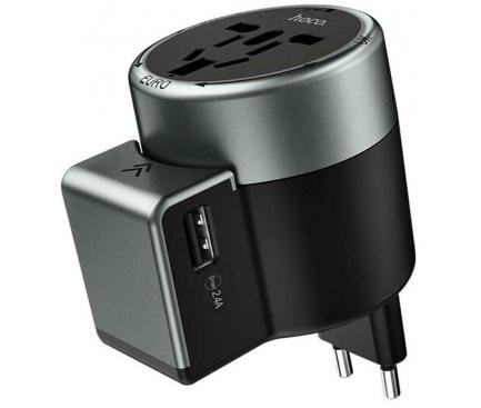 Incarcator Retea USB HOCO AC4 Travel, EU-UK-USA-AUS, 2.4A, 2 X USB, Negru, Blister