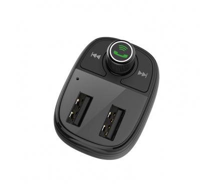 Emitator FM Bluetooth si MP3 Player AUTO cu buton Apel si  2x USB Borofone BC16, Negru, Blister