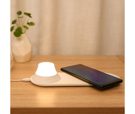 Incarcator Retea Wireless Xiaomi Yeelight, Cu lampa de veghe detasabila, Quick Charge, 15W, Alb, Blister