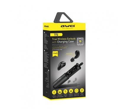 Handsfree Casti Bluetooth Awei TWS T5 cu suport incarcare, Negru, Blister