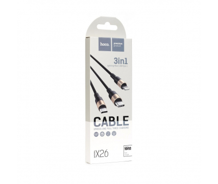 Cablu Incarcare USB la Lightning - USB la MicroUSB - USB la USB Type-C HOCO X26 Xpress, 1 m, Negru, Blister