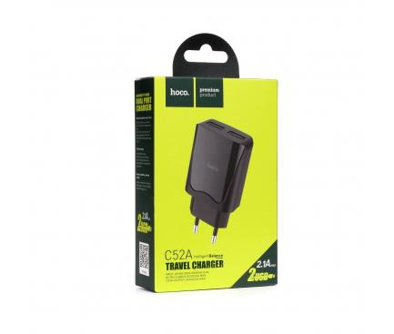 Incarcator Retea USB HOCO C52A, 2.1A, 2 X USB, Negru, Blister