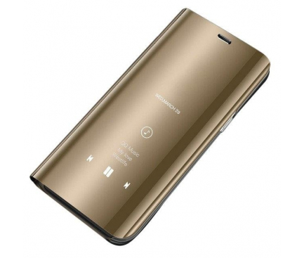 Husa Plastic OEM Clear View pentru Samsung Galaxy Note 10 N970 / Samsung Galaxy Note 10 5G N971, Aurie, Blister