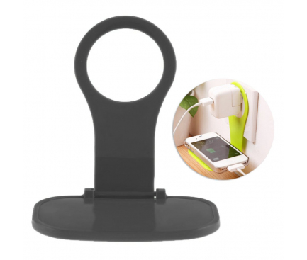 Suport plastic Universal pentru incarcare telefon la priza OEM, Negru, Bulk