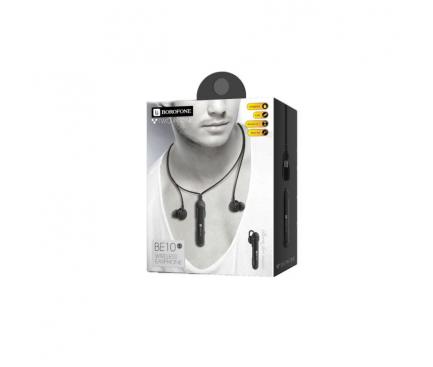 Handsfree Casca Bluetooth Borofone Clever BE10, In-Ear, SinglePoint, 2in1, Negru, Blister