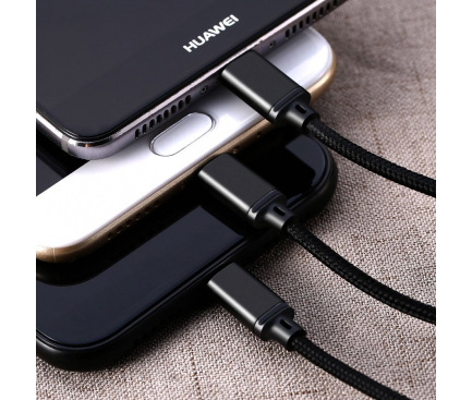 Cablu Incarcare USB la Lightning - USB la MicroUSB - USB la USB Type-C Remax Gition RC-131th, 3in1, 2.8A, 1.15 m, Negru, Blister