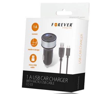 Incarcator Auto cu cablu MicroUSB Forever CC-03, 1A, 1.2m, Negru, Blister
