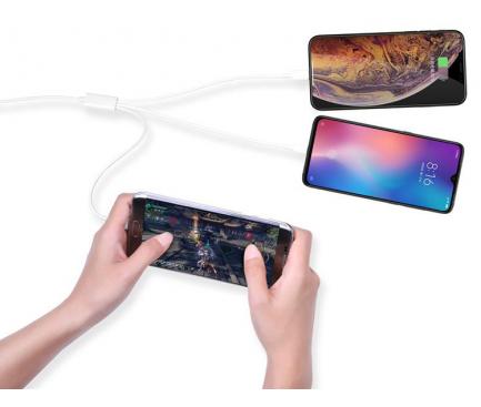 Cablu Incarcare USB la Lightning - USB la MicroUSB - USB la USB Type-C DEVIA Smart 3in1, 1.2 m, Alb, Blister